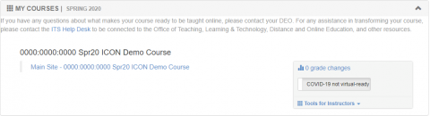 Instructor view of COVID-19 virtual instruction not prepared course link