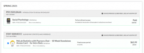 Screenshot of two courses and course materials in ICON Direct Student Choice platform. One has no checkbox and the word Paid. Another has a checkbox and the cost of staying in the program.