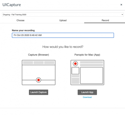 Screenshot of Record option in UICapture allowing users to choose Launch Capture or Launch App