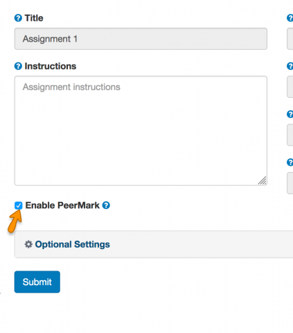 Turnitin assignment with Enable PeerMark checked