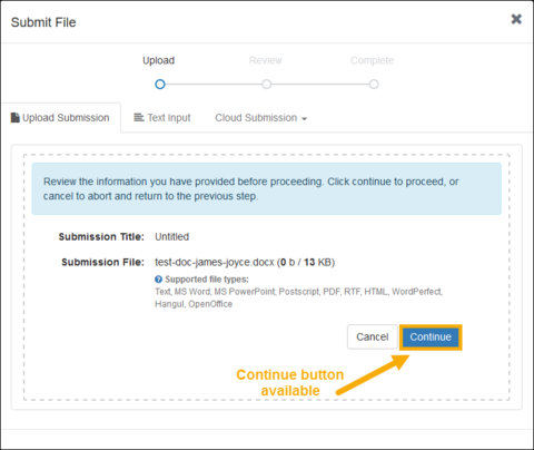 Screenshot of Turnitin upload button available