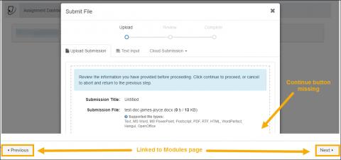 Screenshot of Turnitin upload button missing