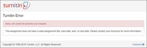 Turnitin error screenshot