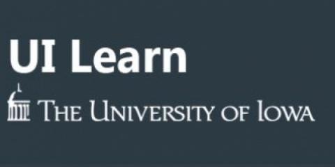Blue UI Learn logo with University of Iowa logo