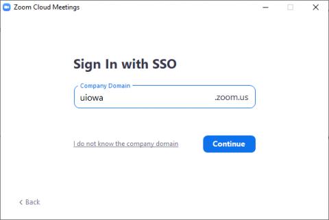 Enter uiowa as the Company Domain