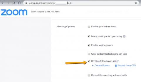 How to preassign breakout rooms in the Zoom page