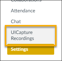 In order to create a UICapture folder, select UICapture Recordings in the course site navigation