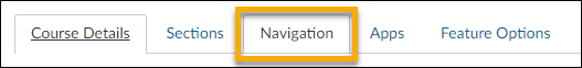 Select the Navigation tab at the top of the page