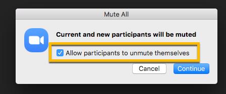 Allow participants to unmute