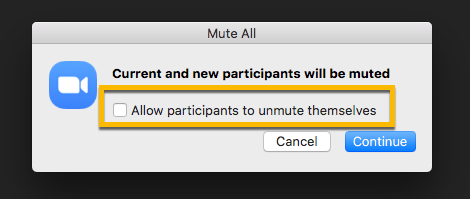 Mute all and don't let participants unmute themselves